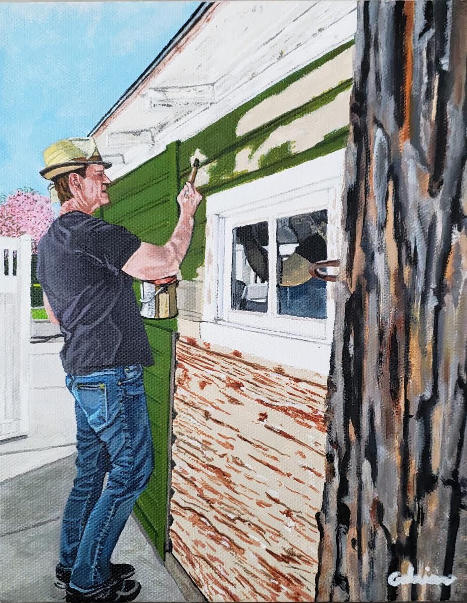 Self Portrait of the Artist Painting His Garage